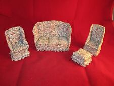 VINTAGE DOLLHOUSE FURNITURE LIVING ROOM SET 2 CHAIRS, COUCH & STOOL FLORAL PRINT