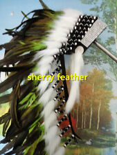 28 INCH green indian feather headdress chief war bonnet american costume