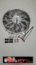 """CHROME 14"""" ELECTRIC COOLING FAN reversable puller pusher 12v 2400 CFM radiator"""