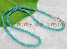 Fine 2x4mm Aquamarine Blue Faceted Roundel Gems Beads Necklace Silver Clasp AA