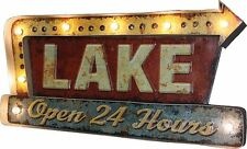 Lake Open 24 Hours LED Metal Bar Sign Cabin Lodge Den Home Decor New In Box
