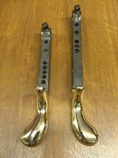Pair of Polished Brass Pedals from Antique Upright Player Piano, Sustain & Soft