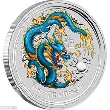 Perth Mint Australia 2012 Dragon Blue Colored 1 oz .999 Silver Coin