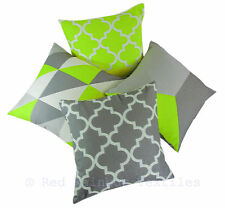 Collection of 4 Designs Lime Green & Grey Linen Geometric 18 Inch Cushion Covers