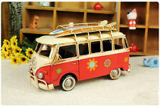 Handmade Big Red Iron Tin Metal Pattern Car Volkswagen VW Bus with Surf Board