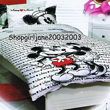 Mickey Loves Minnie Mouse ❤ Disney ❤ Queen Bed Quilt Doona Duvet Cover Set