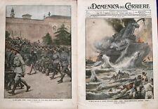 Domenica del corriere 1914-47 NUOVE MILIZIE D'ITALIA VOLONTARI IN RIVISTA MILANO