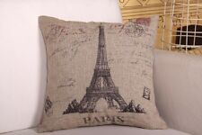 Eiffel Tower Paris Raw Linen Look French Provinicial Cushion Covers Square 45cm