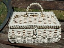 Vintage Woven Musical SEWING BASKET with Tray Cream and Gold Japan