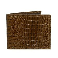 FCUK Crocodile Effect Mens Bi-Fold Brown Leather Wallet BNWT Free P&P French Co