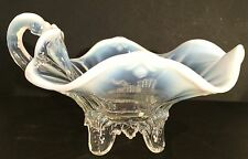 Dugan French Opalescent Gravy Boat, Fan Pattern, c.1907