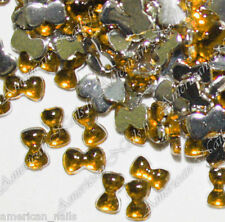 100 Bijoux d'Ongles Strass Nail Art PETITS NOEUDS Jaune Or