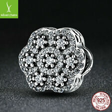 Christmas Gift 925 Sterling Pave CZ Snow Flower Charm Bead Fit Chain Necklace