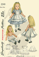 Vintage 1947 Alice in Wonderland Doll & Clothes Sewing Pattern