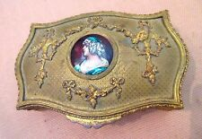 antique ornate 1800s French Gilt Bronze miniature Enamel Portrait painting box