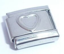 SILVER OUTLINE HEART Italian Charm - I Love You fits 9mm Classic Bracelets N218