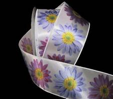 "5 Yards Purple Gerbera Daisies Flowers Satin Wired Ribbon 2 1/2""W"