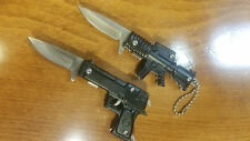 Mini Keychain Gun Knives Rifle Pistol Spring Assisted LOT of 2