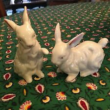 VINTAGE PAIR ANDREA BY SADEK PORCELAIN BUNNY RABBITS FIGURINES EXC 8747 JAPAN