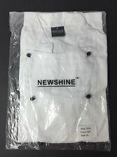 Newshine Unisex Montgomery Classic Short Sleeve Chef Coat jacket in White Size M