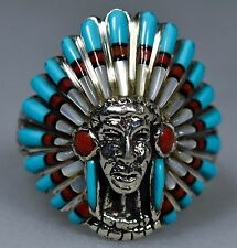 Vintage Indian Old Pawn Coral Turquoise Inlay Sterling Mens CHIEF Ring SZ 14.5