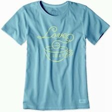 NWT~LIFE IS GOOD Women's~ LOVE TODAY Crusher Tee~ Color Dusty Blue~Size S or L