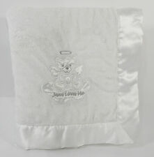 Itty Bitty White Baby Crib Blanket Minky Dot Angel Teddy Bear Jesus Loves Me