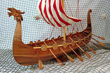 "Drakkar Dragon Viking Sailboat Assembled 24"" - Wooden Model Boat Ship"