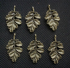 6 Oak Leaf Charms Antiqued Bronze Tone Autumn Pagan Wiccan