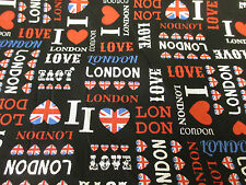 "Black "" I Love London""  British Print, London Printed 100% Cotton Fabric."
