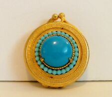 Florenza Solid Perfume Compact Trinket Box Turquoise Blue Cabochon Beads Empty