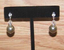 Unbranded Stud Back Grey & Clear Beaded Pearl Dangle Drop Fashion Earrings! READ