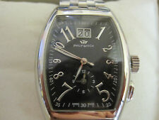 mans stainless steel PHILIP panama dual time big date watch