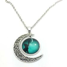 Vintage Cat touch moon Cabochon Silver plated chain necklace Moon pendant