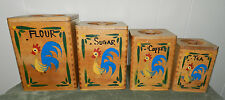 NEAT OLD VINTAGE WOOD ROOSTER CANISTER SET! CHICKENS KITCHEN