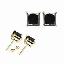 3 Carat 7MM Princess Black CZ 925 Sterling Silver Yello Gold Plated Stud Earring