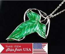 Lord of The Rings Elven Green Leaf Brooch Pin Pendant +Chain Necklace dj1453