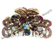 New Whites/colorful Austrian Crystal Metal Roses-butterfly hair claws clips pins