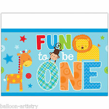 "54""x102"" Wild Fun To Be One Blue Boy's 1st Birthday Party Plastic Table Cover"