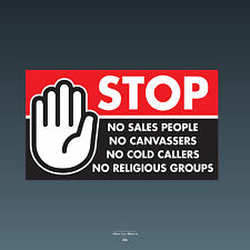 SKU76 Stop Cold Calling Door Sticker No Canvassers Callers Religious Groups Sign