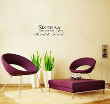 Sisters Are Joined Heart To Heart Wall Decal Saying Vinyl Lettering Home Decor