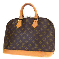 Auth LOUIS VUITTON Alma Hand Bag Monogram Canvas Leather Brown M51130 62P259