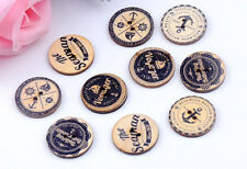 "Lot of 10 NAUTICAL THEME 2-hole Wooden Buttons 5/8"" 15mm Scrapbook Craft (5696)"