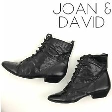 Joan And David Leather Lace Up Granny Boots Brogue Pointed Toe Shoes Size 8