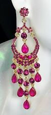 "Gorgeous! 4"" Pink Chandelier Crystal Earrings, Drag Queen, Pageant, Prom, Bridal"