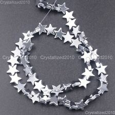 Natural Hematite Gemstone Multi-Color Flat Star Beads 6mm 8mm 10mm Silver 16''