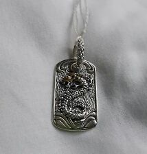 sterling silver and gold inlaid tag pendant