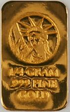 1/4 GRAM GOLD BAR OF 24K PURE .999 FINE GOLD STRATEGIC BULLION A6a