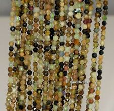 3MM GREEN GARNET GEMSTONE GREEN FACETED ROUND 3MM LOOSE BEADS 16""