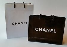 New Authentic CHANEL Medium Black & White Paper Gift Shopping Bags X (2)